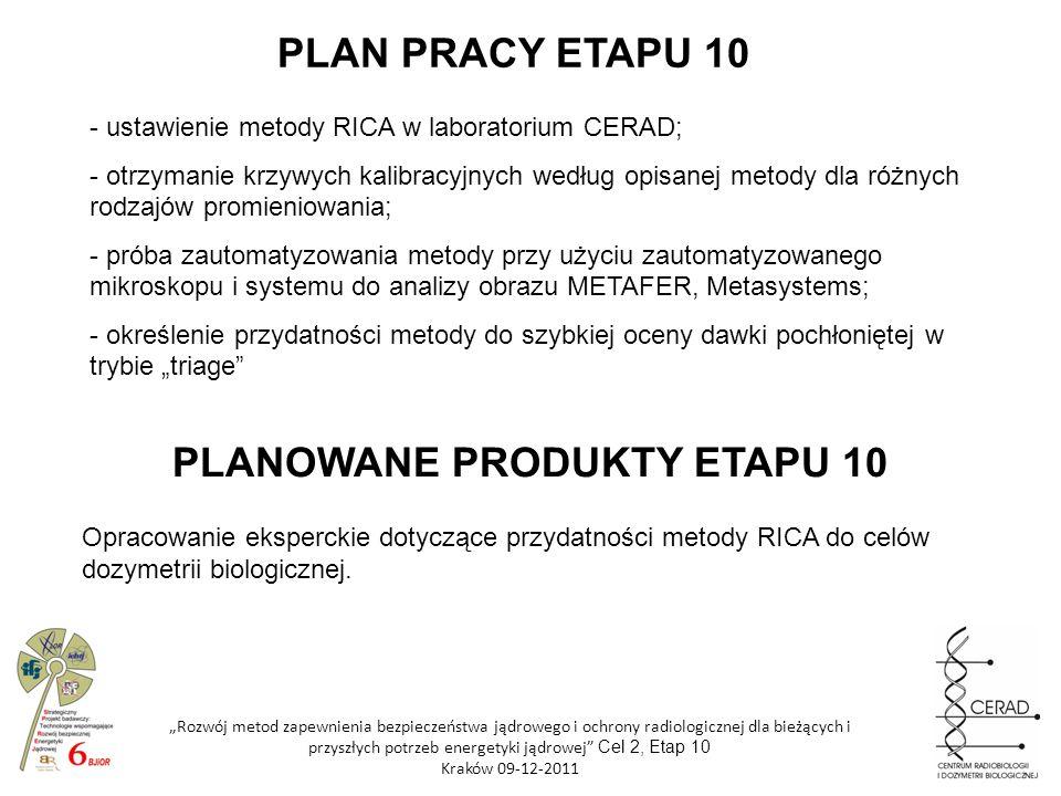 Rozwój metod zapewnienia bezpieczeństwa jądrowego i ochrony radiologicznej dla bieżących i przyszłych potrzeb energetyki jądrowej Cel 2, Etap 10 Krakó