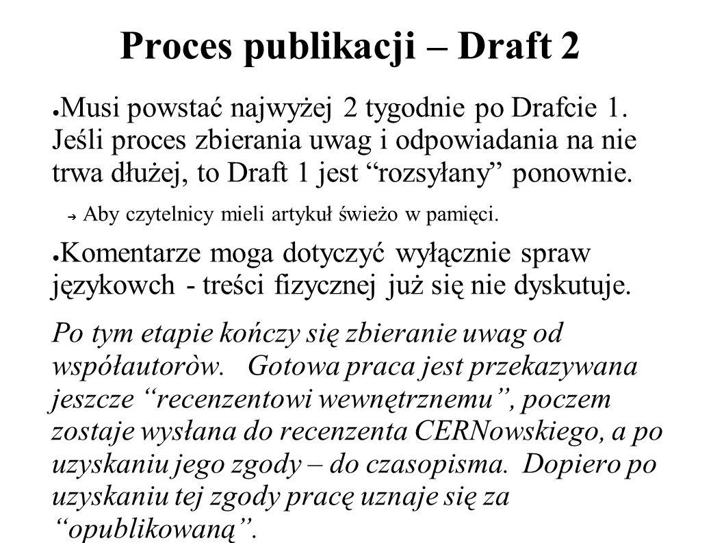 Proces publikacji – Draft 2 Musi powstać najwyżej 2 tygodnie po Drafcie 1.