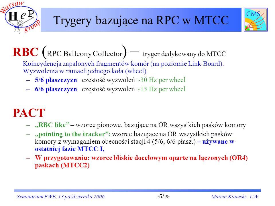 Seminarium FWE, 13 października 2006Marcin Konecki, UW-5/ 15 - Trygery bazujące na RPC w MTCC RBC ( RPC Ballcony Collector ) – tryger dedykowany do MTCC Koincydencja zapalonych fragmentów komór (na poziomie Link Board).