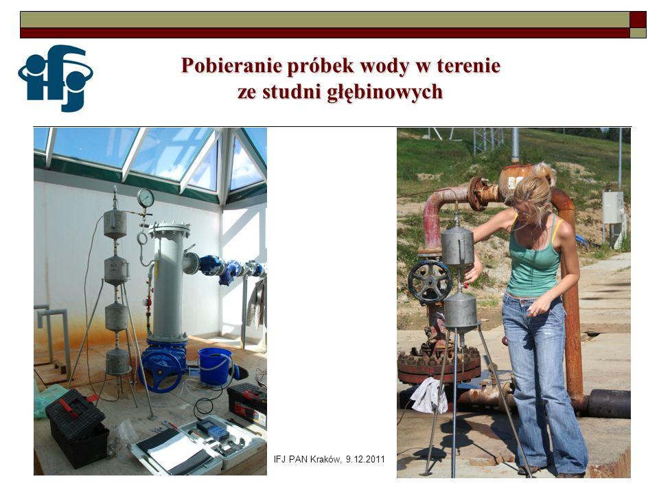IFJ PAN Kraków, 9.12.2011 Pobieranie próbek wody w terenie ze studni głębinowych