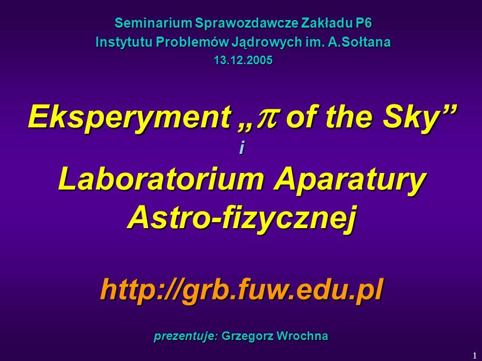 12 Granty of the Sky Zakończone: Badanie błysków optycznych towarzyszących rozbłyskom gamma (G.W.) – badawczy MNiI, 80 kzł / 1 rok Transport aparatury do Chile (G.W.) – interwencyjny FNP, 8.6 kzł Realizowane: System wykrywania i obserwacji szybkozmiennych zjawisk kosmicznych Pi of the Sky (G.W.) – inwestycyjny MNiI, 820 kzł Laboratorium Aparatury Astrofizycznej (G.W.) – inwestycyjny z Funduszu Rozwoju Nauki MNiI, 1750 kzł Wykorzystanie aparatury Pi of the Sky do poszukiwania rozbłysków optycznych w ramach globalnego, automatycznego systemu obserwacji szybkozmiennych zjawisk kosmicznych (L.Mankiewicz, CFT) – badawczy MNiI, 70 kzł / 2 lata Poszukiwanie koincydencji wielkich pęków atmosferycznych z błyskami gamma i ich odpowiednikami optycznymi (T.Wibig, IPJ P7) – badawczy MNiI, 100 kzł / 2 lata Złożone wnioski: Opracowanie modułowego systemu obserwacji całego nieba z dużą rozdzielczością czasową (G.W.) – badawczy MNiI, 206 kzł / 2 lata (odrzucony) Poszukiwanie szybkozmiennych obiektów astrofizycznych za pomocą zrobotyzowanego systemu kamer CCD (G.W.) – badawczy MNiI, 232 kzł / 2 lata Badanie zjawisk astrofizycznych o krótkich skalach czasowych (G.W., M.S.) – promotorski MNiI, 40 kzł / 2 lata