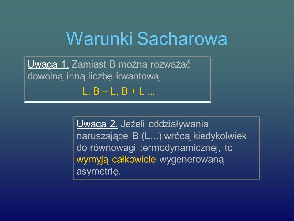 Warunki Sacharowa Uwaga 1. Zamiast B można rozważać dowolną inną liczbę kwantową. L, B – L, B + L... Uwaga 2. Jeżeli oddziaływania naruszające B (L...