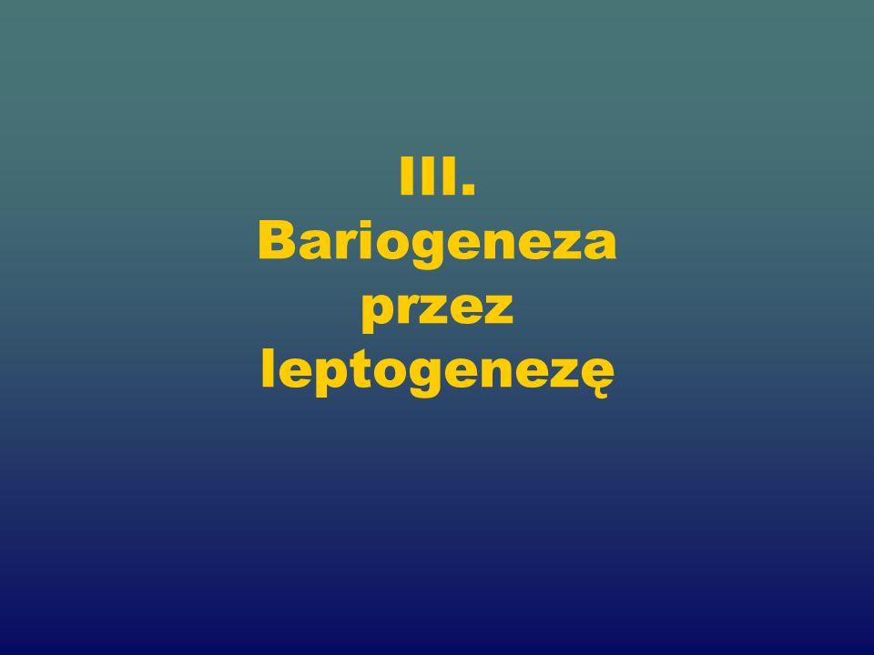 III. Bariogeneza przez leptogenezę