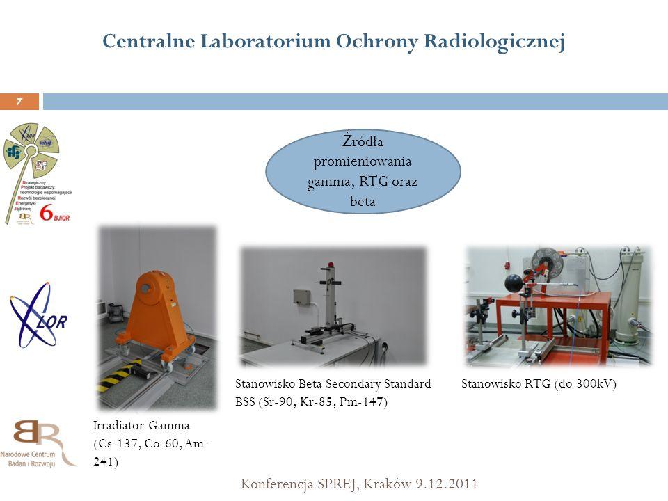 Centralne Laboratorium Ochrony Radiologicznej Konferencja SPREJ, Kraków 9.12.2011 7 Ź ródła promieniowania gamma, RTG oraz beta Irradiator Gamma (Cs-1