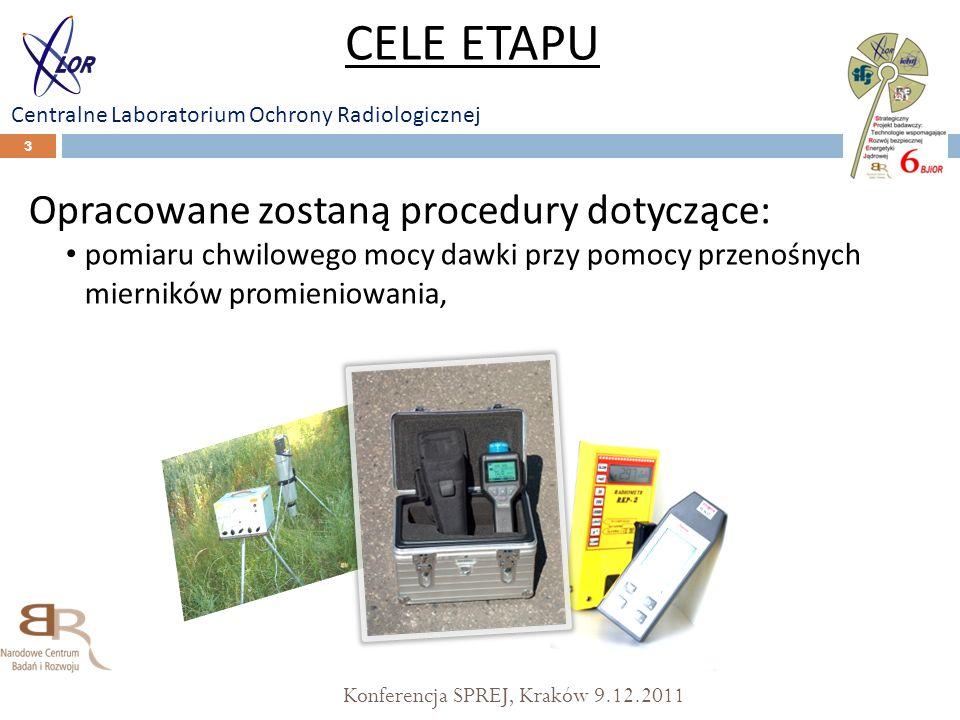 Konferencja SPREJ, Kraków 9.12.2011 3 Opracowane zostaną procedury dotyczące: pomiaru chwilowego mocy dawki przy pomocy przenośnych mierników promieni