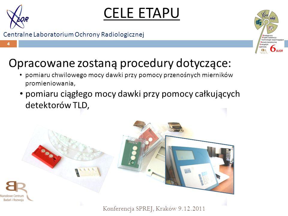 Konferencja SPREJ, Kraków 9.12.2011 4 Opracowane zostaną procedury dotyczące: pomiaru chwilowego mocy dawki przy pomocy przenośnych mierników promieni
