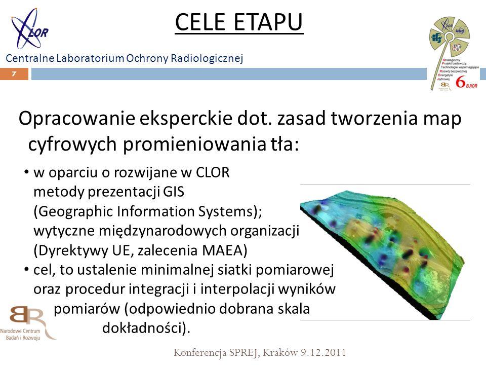 Konferencja SPREJ, Kraków 9.12.2011 7 Opracowanie eksperckie dot. zasad tworzenia map cyfrowych promieniowania tła: CELE ETAPU Centralne Laboratorium