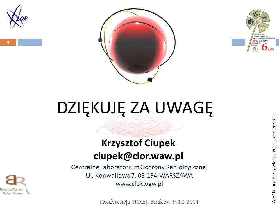 Konferencja SPREJ, Kraków 9.12.2011 9 DZIĘKUJĘ ZA UWAGĘ Centralne Laboratorium Ochrony Radiologicznej Ul.