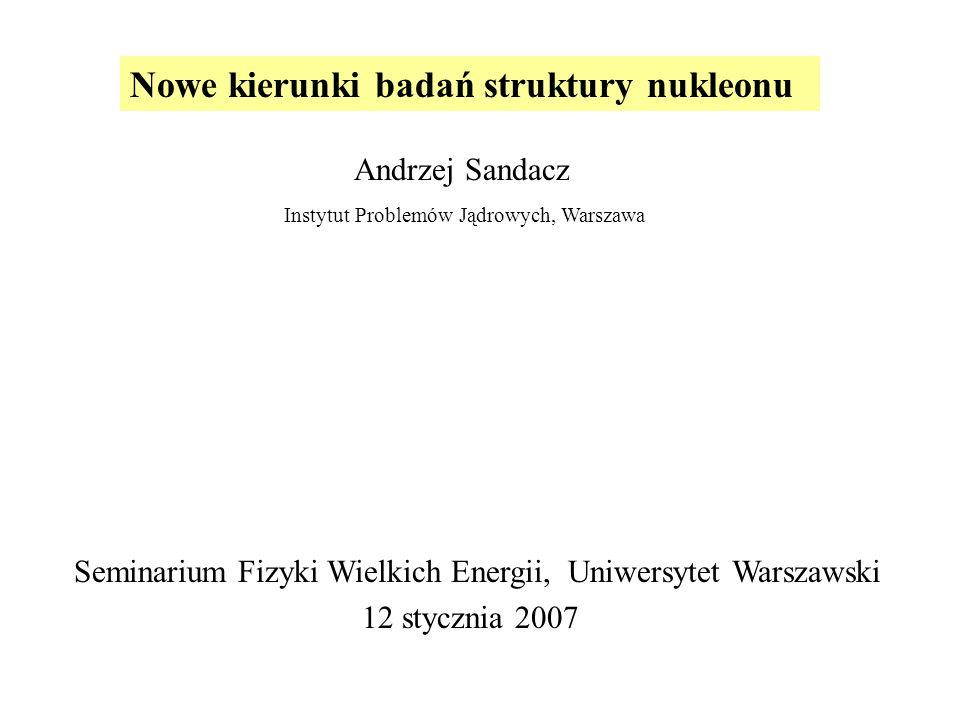 Nowe kierunki badań struktury nukleonu Andrzej Sandacz Instytut Problemów Jądrowych, Warszawa Seminarium Fizyki Wielkich Energii, Uniwersytet Warszawski 12 stycznia 2007