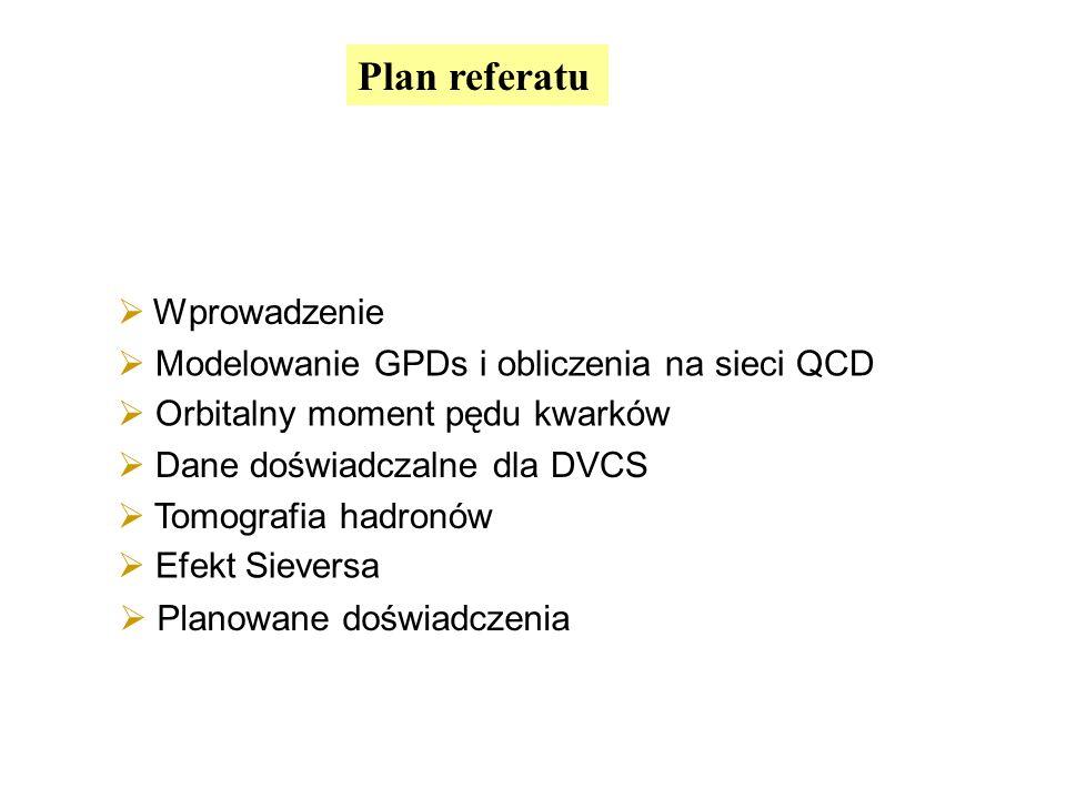 Plan referatu Wprowadzenie Modelowanie GPDs i obliczenia na sieci QCD Tomografia hadronów Orbitalny moment pędu kwarków Dane doświadczalne dla DVCS Ef