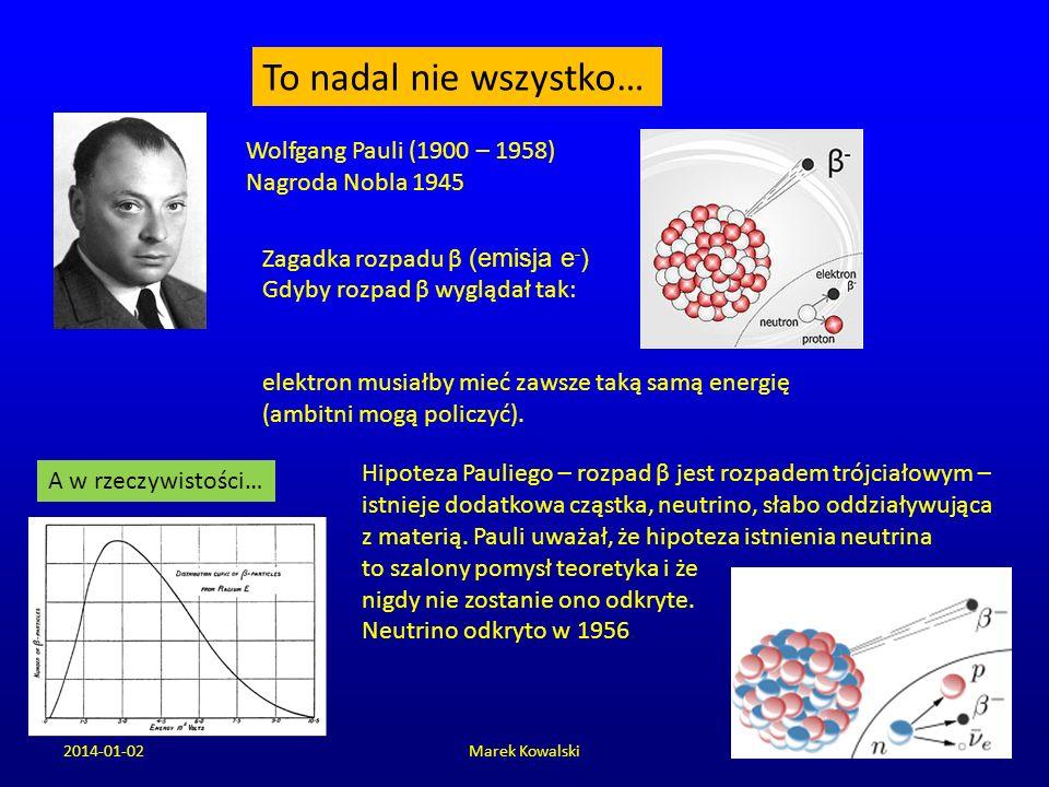 2014-01-02Marek Kowalski To nadal nie wszystko… Wolfgang Pauli (1900 – 1958) Nagroda Nobla 1945 Zagadka rozpadu β (emisja e - ) Gdyby rozpad β wygląda