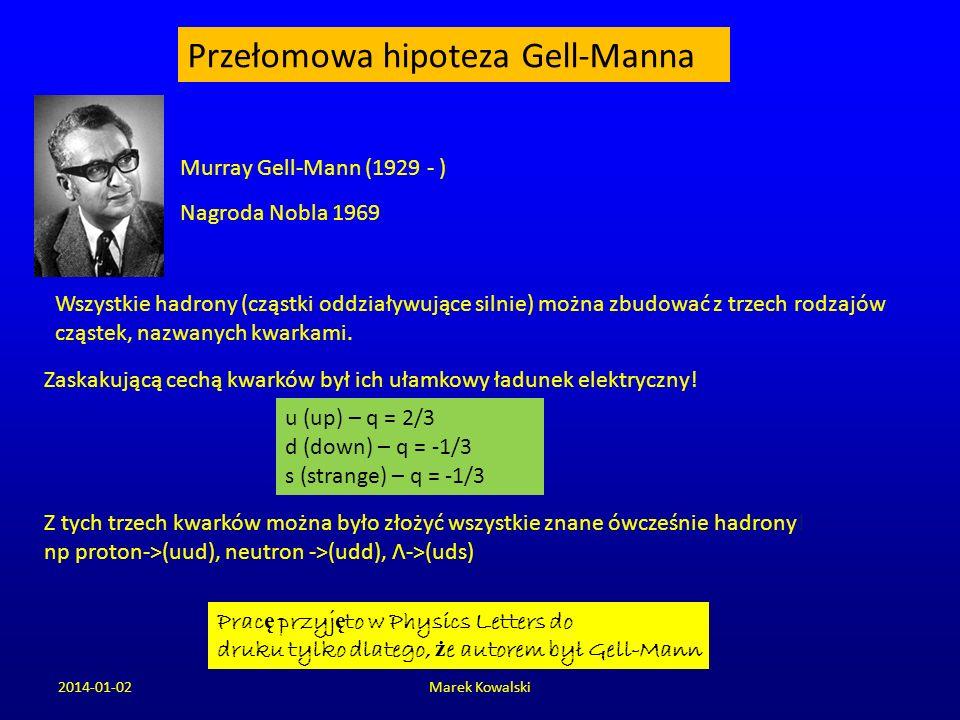 2014-01-02Marek Kowalski Przełomowa hipoteza Gell-Manna Wszystkie hadrony (cząstki oddziaływujące silnie) można zbudować z trzech rodzajów cząstek, na