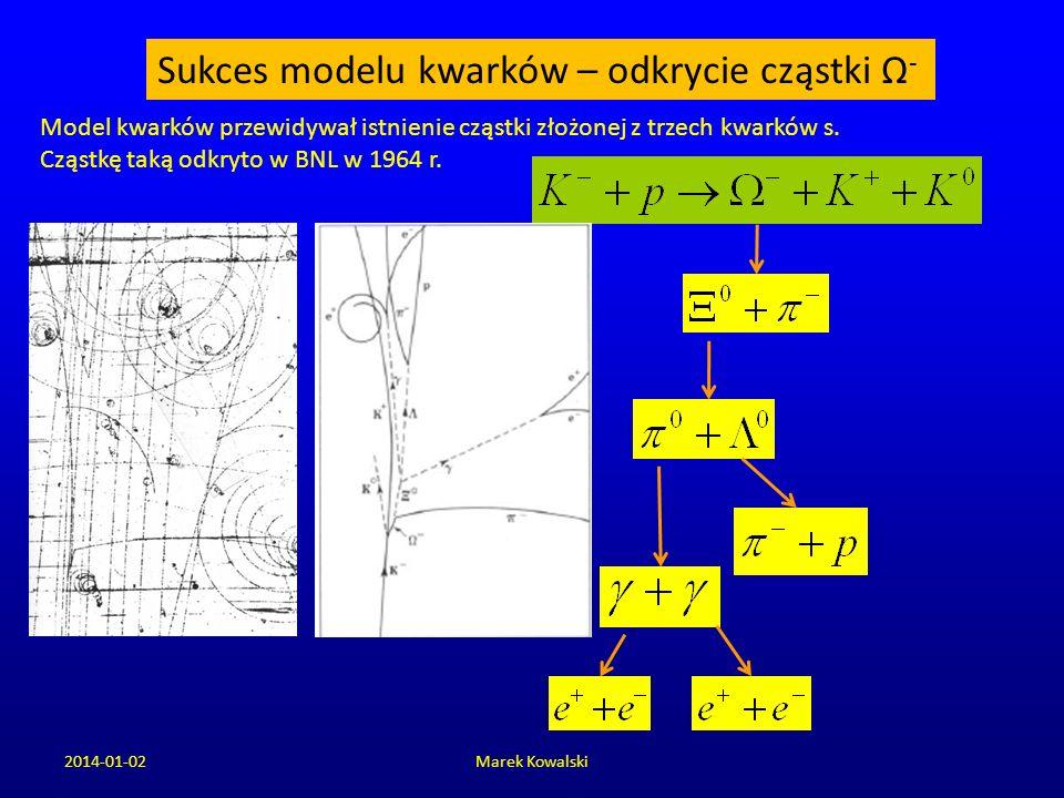 2014-01-02Marek Kowalski Sukces modelu kwarków – odkrycie cząstki Ω - Model kwarków przewidywał istnienie cząstki złożonej z trzech kwarków s. Cząstkę