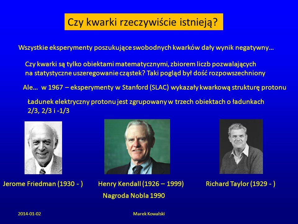 2014-01-02Marek Kowalski Czy kwarki rzeczywiście istnieją? Wszystkie eksperymenty poszukujące swobodnych kwarków dały wynik negatywny… Ale… w 1967 – e