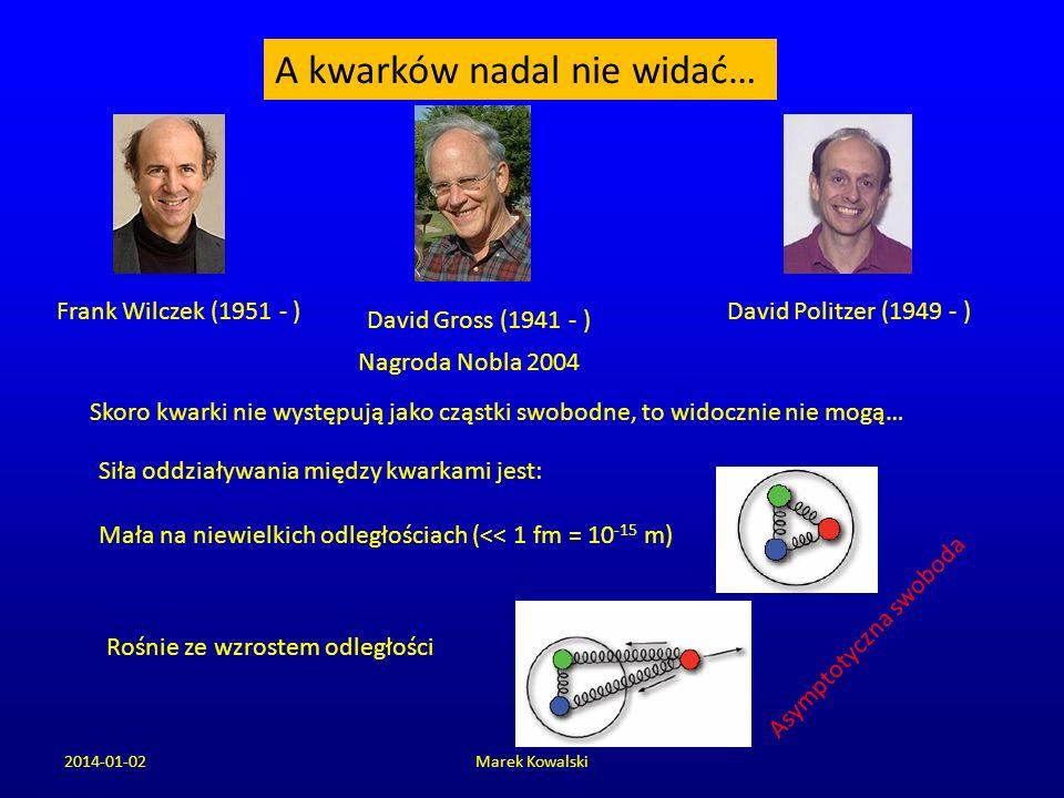 2014-01-02Marek Kowalski A kwarków nadal nie widać… Skoro kwarki nie występują jako cząstki swobodne, to widocznie nie mogą… Frank Wilczek (1951 - ) D