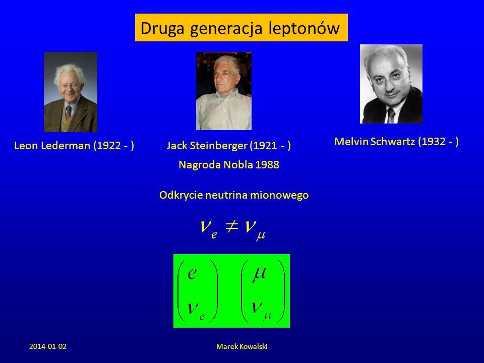 2014-01-02Marek Kowalski Leon Lederman (1922 - ) Druga generacja leptonów Jack Steinberger (1921 - ) Melvin Schwartz (1932 - ) Nagroda Nobla 1988 Odkr
