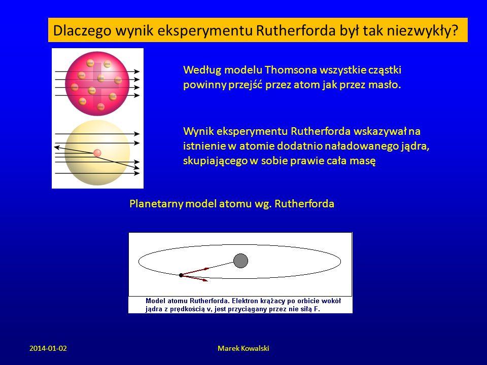 2014-01-02Marek Kowalski Dlaczego wynik eksperymentu Rutherforda był tak niezwykły? Według modelu Thomsona wszystkie cząstki powinny przejść przez ato
