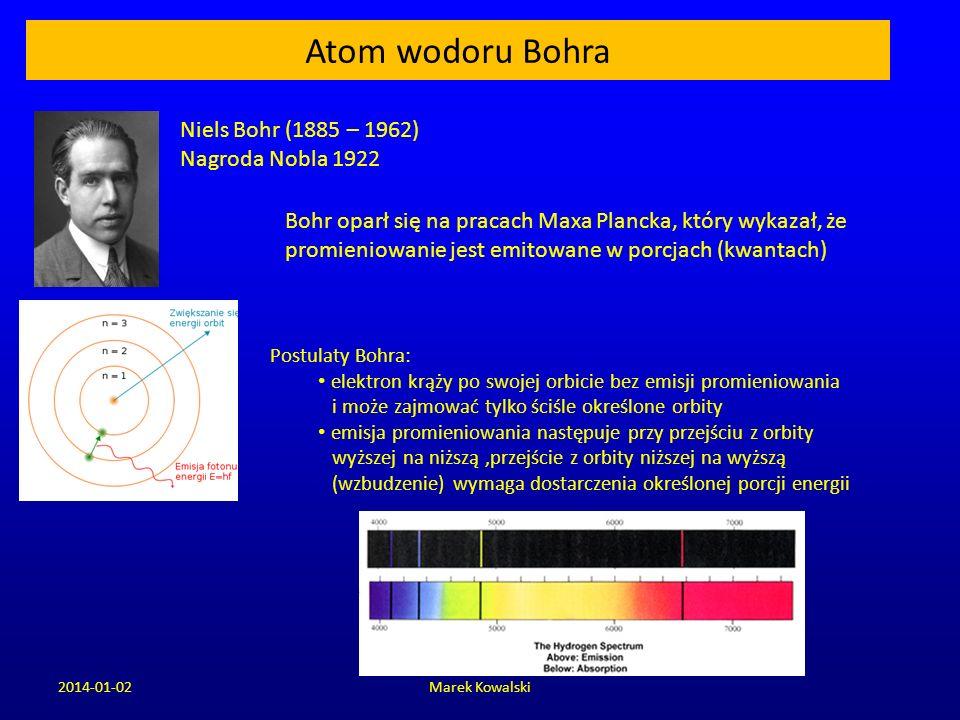 2014-01-02Marek Kowalski Atom wodoru Bohra Niels Bohr (1885 – 1962) Nagroda Nobla 1922 Postulaty Bohra: elektron krąży po swojej orbicie bez emisji pr