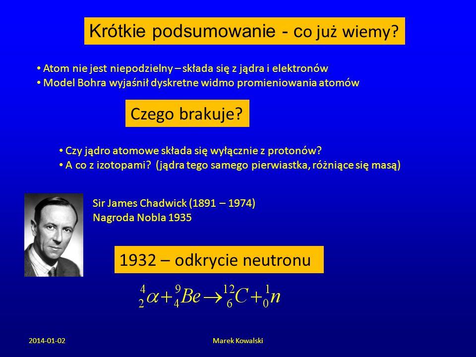 2014-01-02Marek Kowalski Krótkie podsumowanie - c o już wiemy? Atom nie jest niepodzielny – składa się z jądra i elektronów Model Bohra wyjaśnił dyskr