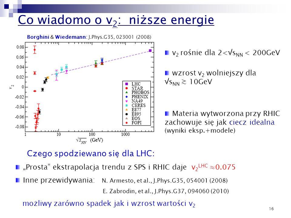 16 Co wiadomo o v 2 : niższe energie Borghini & Wiedemann: J.Phys.G35, 023001 (2008) Czego spodziewano się dla LHC: v 2 rośnie dla 2< s NN < 200GeV wz