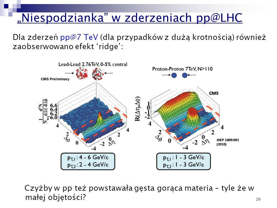 26 Niespodzianka w zderzeniach pp@LHC Czyżby w pp też powstawała gęsta gorąca materia – tyle że w małej objętości? Dla zderzeń pp@7 TeV (dla przypadkó