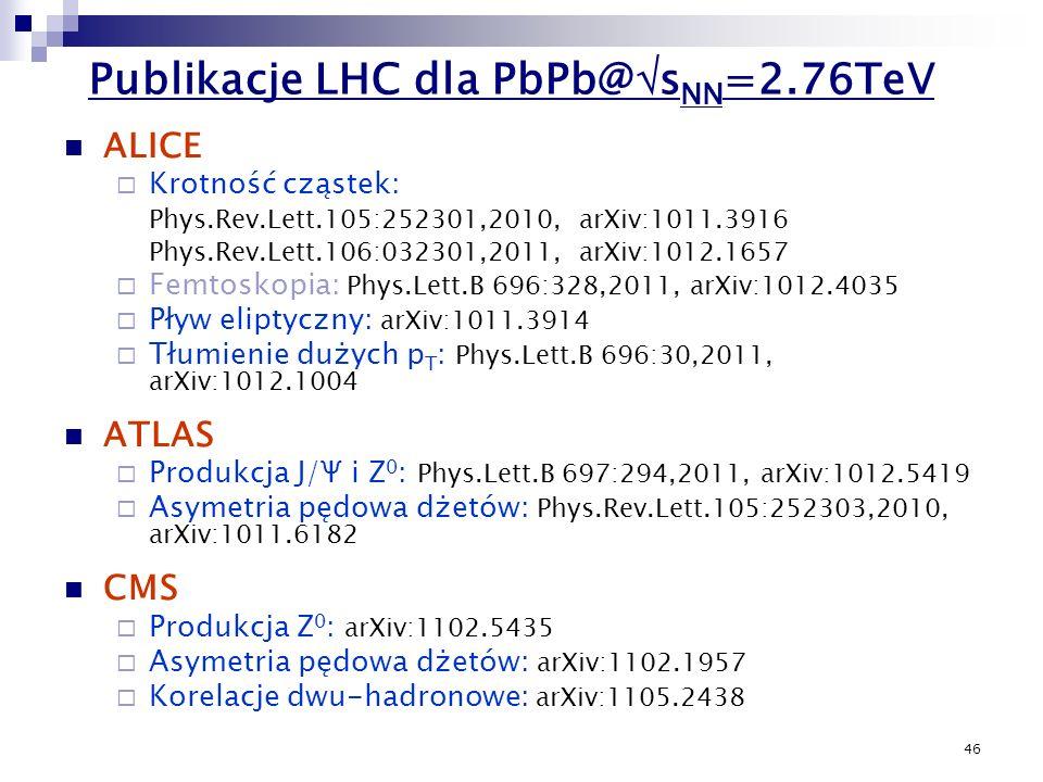 46 ALICE Krotność cząstek: Phys.Rev.Lett.105:252301,2010, arXiv:1011.3916 Phys.Rev.Lett.106:032301,2011, arXiv:1012.1657 Femtoskopia: Phys.Lett.B 696: