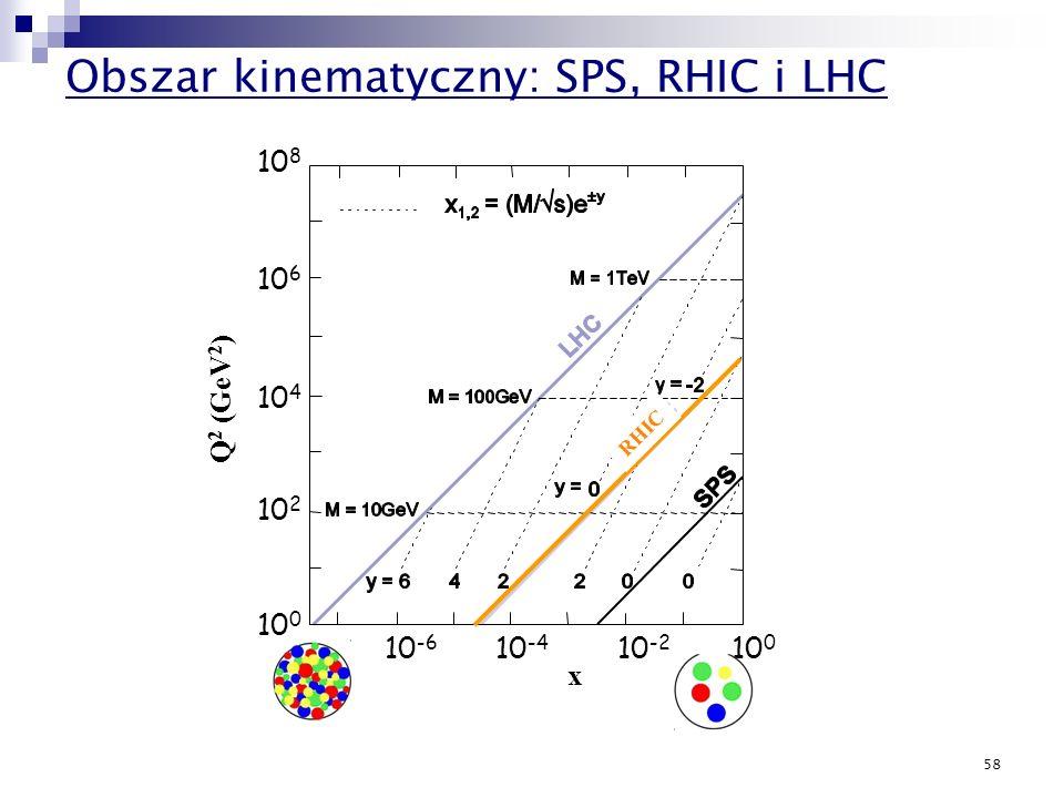 58 10 -6 10 -4 10 -2 10 0 x 10 8 10 6 10 4 10 2 10 0 Q 2 (GeV 2 ) RHIC Obszar kinematyczny: SPS, RHIC i LHC