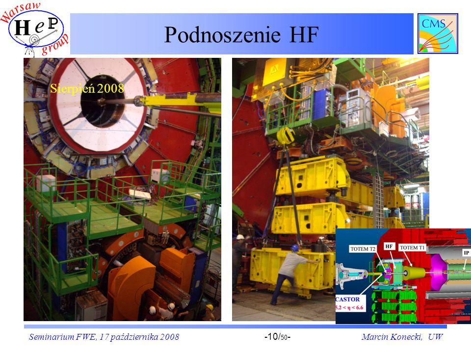 Seminarium FWE, 17 października 2008Marcin Konecki, UW-10/ 50 - Podnoszenie HF Sierpień 2008