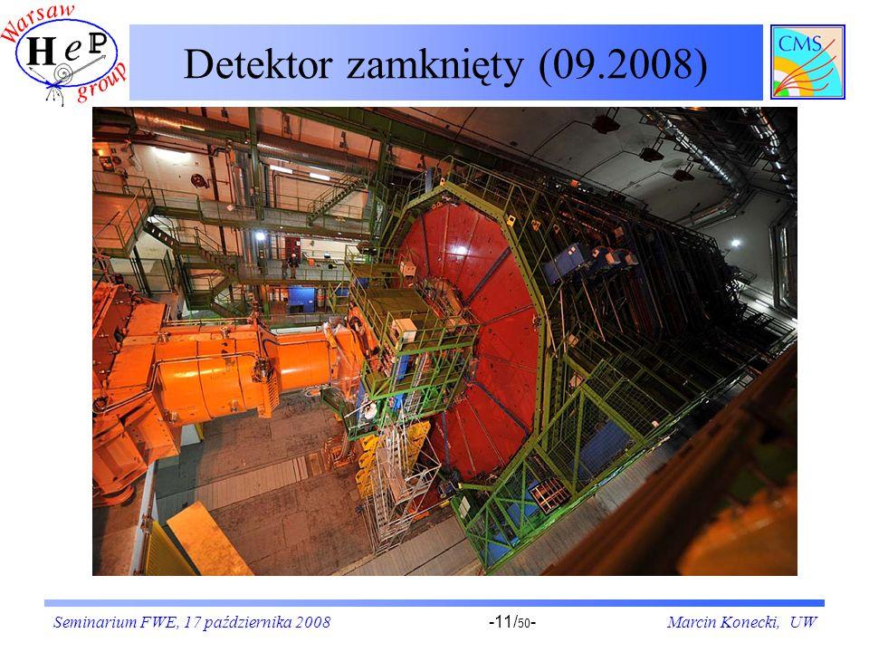 Seminarium FWE, 17 października 2008Marcin Konecki, UW-11/ 50 - Detektor zamknięty (09.2008)
