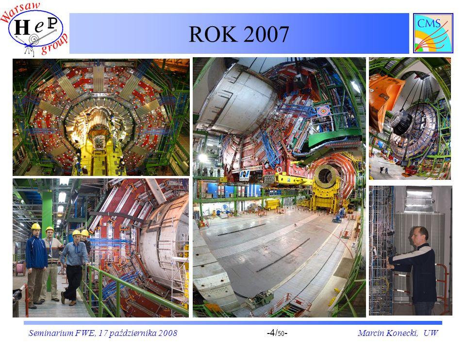 Seminarium FWE, 17 października 2008Marcin Konecki, UW-25/ 50 - PAC Tryger – zasada działania (I) Tor mionu w detektorze CMS W obszarze wewnętrznym cewki panuje pole magnetyczne o indukcji 4 Tesle, powodujące zakrzywienie torów cząstek naładowanych.