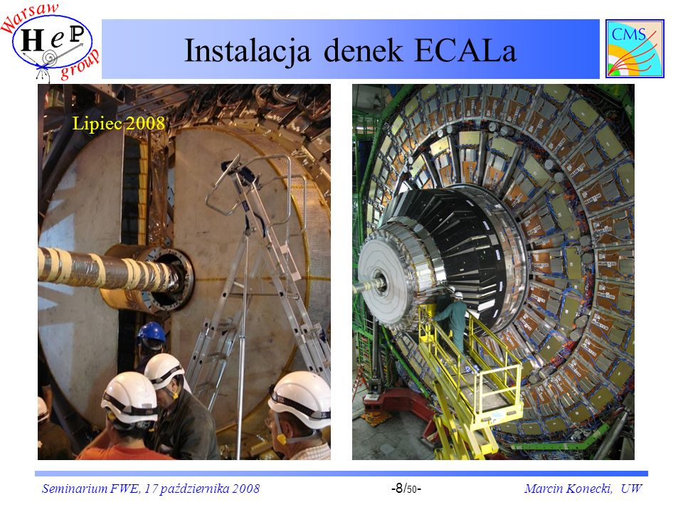 Seminarium FWE, 17 października 2008Marcin Konecki, UW-19/ 50 - Tryger dla LHC – idea CMS Przypadki zaakceptowane przez stopień pierwszy systemu wyzwalania (LV1, dedykowany, programowalny hardware) kierowane są do zespołu procesorów CPU, gdzie podejmowana jest ostateczna decyzja trygera wyższego stopnia (HLT) o odrzuceniu lub.