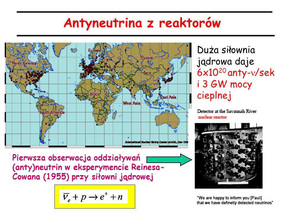 21 Antyneutrina z reaktorów Duża siłownia jądrowa daje 6x10 20 anty- /sek i 3 GW mocy cieplnej Pierwsza obserwacja oddziaływań (anty)neutrin w ekspery