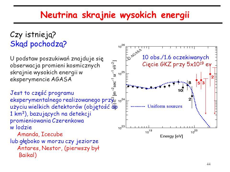 44 Neutrina skrajnie wysokich energii Czy istnieją? Skąd pochodzą? U podstaw poszukiwań znajduje się obserwacja promieni kosmicznych skrajnie wysokich