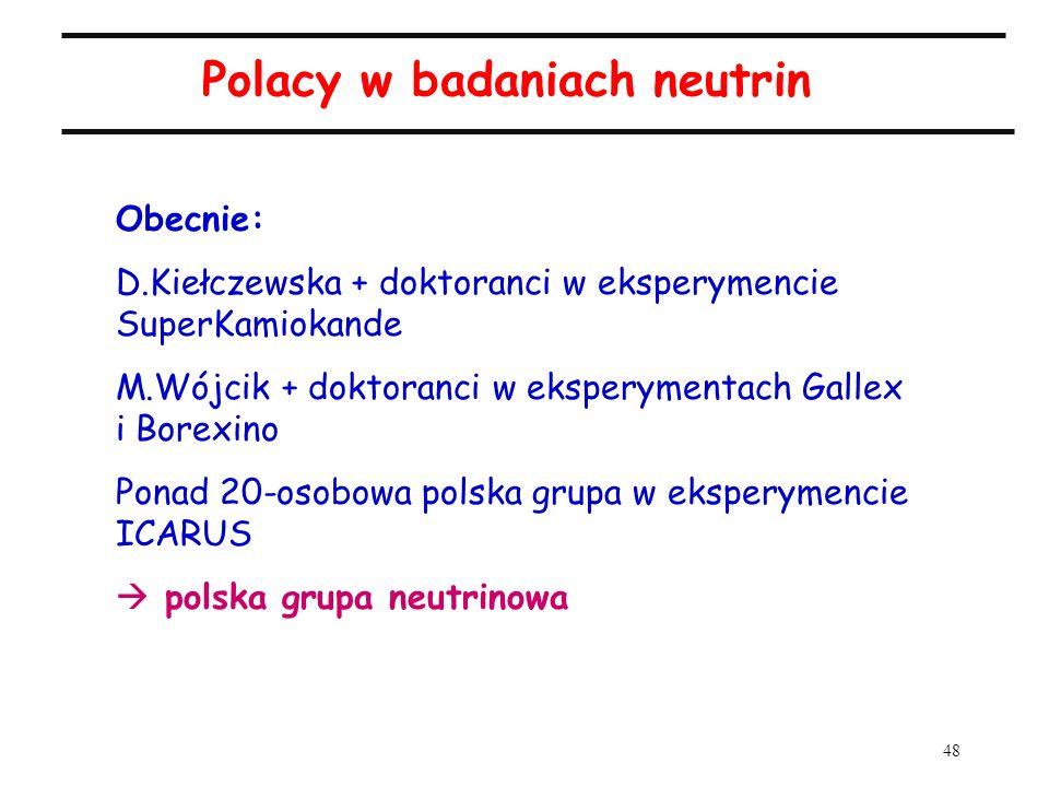 48 Polacy w badaniach neutrin Obecnie: D.Kiełczewska + doktoranci w eksperymencie SuperKamiokande M.Wójcik + doktoranci w eksperymentach Gallex i Bore