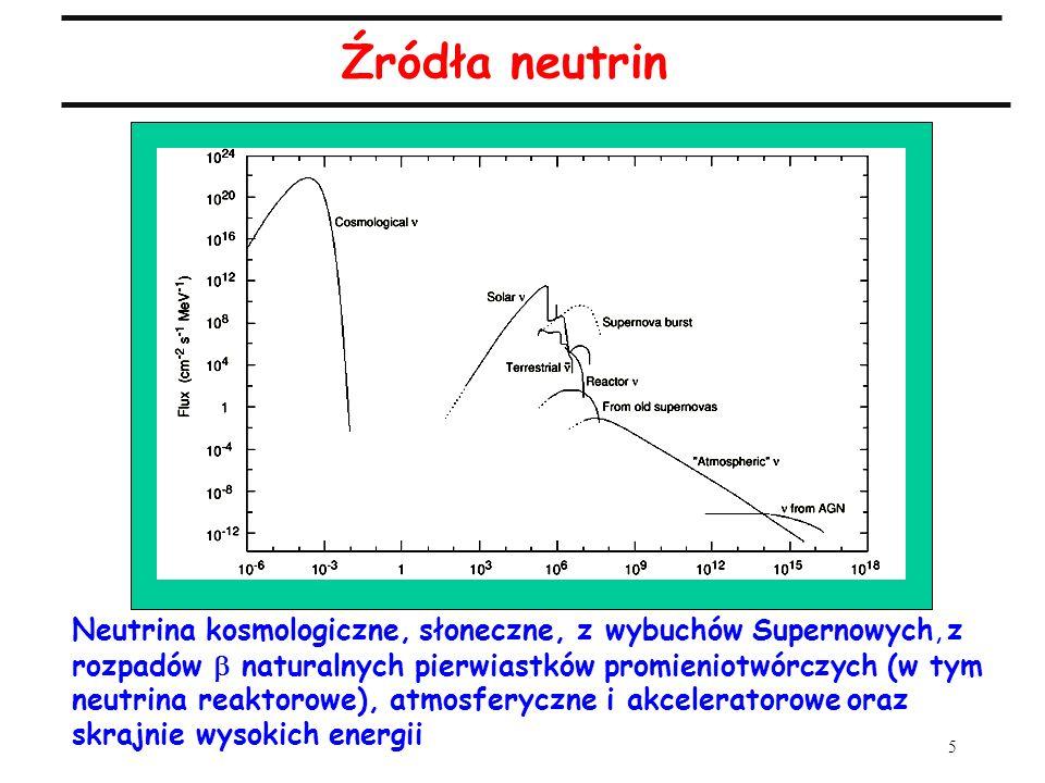 6 Oscylacje neutrin Przy założeniu dwu stanów zapachowych neutrin i oraz dwu stanów masowych 1 i 2, prawdopodobieństwo przejścia w w próżni: gdzie m 2 = m 2 2 – m 1 2 wyrażone jest w [eV -2 ], L w [km], a E w [GeV] m 2 i (kąt mieszania stanów 1 i 2) to parametry teoretyczne, L (długość bazy pomiarowej) i E (energia neutrin) są dobierane eksperymentalnie Wpływ materii: wzory na prawdopodobieństwa takie same jak dla oscylacji w próżni, ale efektywne masy i efektywne kąty mieszania - na razie ważny tylko w przypadku neutrin słonecznych