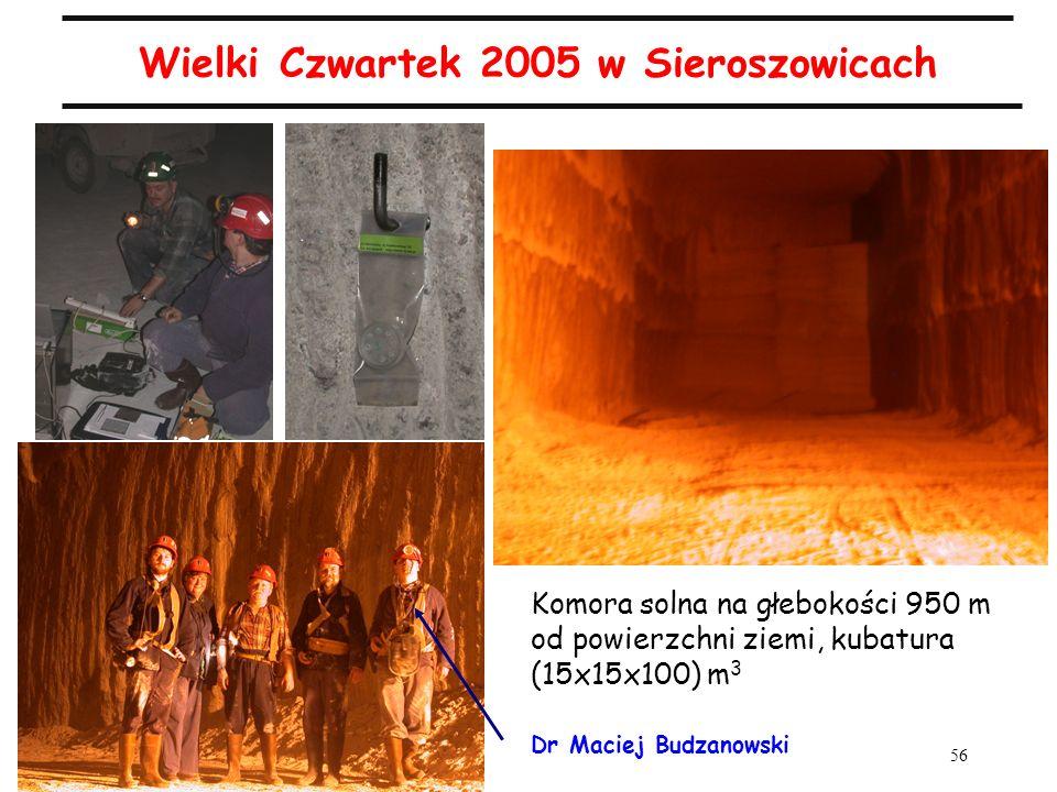 56 Wielki Czwartek 2005 w Sieroszowicach Komora solna na głebokości 950 m od powierzchni ziemi, kubatura (15x15x100) m 3 Dr Maciej Budzanowski