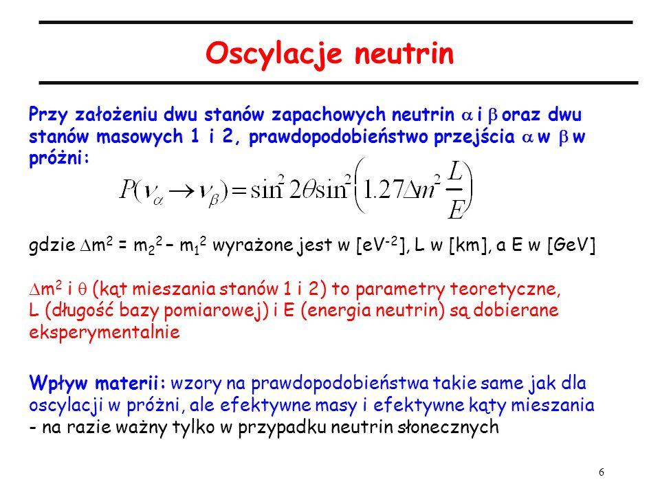 6 Oscylacje neutrin Przy założeniu dwu stanów zapachowych neutrin i oraz dwu stanów masowych 1 i 2, prawdopodobieństwo przejścia w w próżni: gdzie m 2