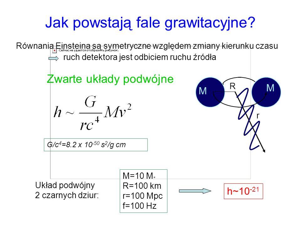 Jak powstają fale grawitacyjne? Zwarte układy podwójne M=10 M * R=100 km r=100 Mpc f=100 Hz G/c 4 =8.2 x 10 -50 s 2 /g cm M M r R h~10 -21 Układ podwó