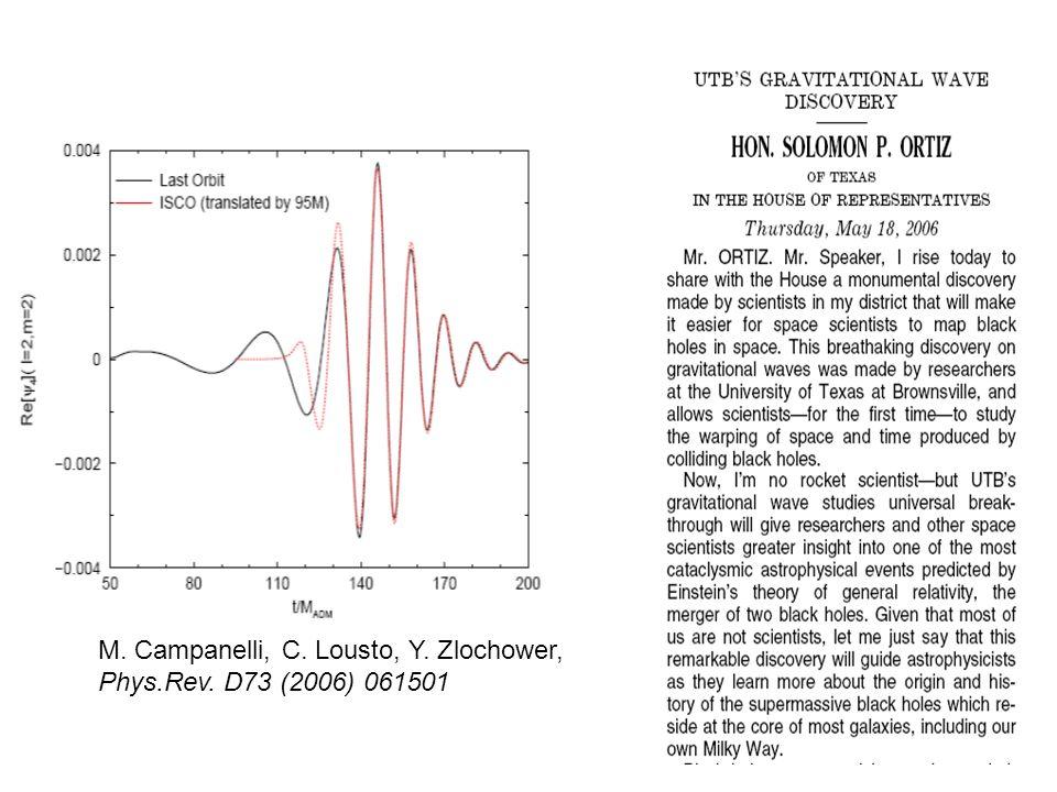 M. Campanelli, C. Lousto, Y. Zlochower, Phys.Rev. D73 (2006) 061501