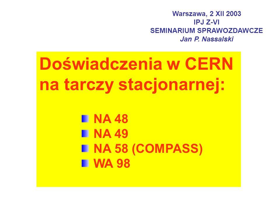 Warszawa, 2 XII 2003 IPJ Z-VI SEMINARIUM SPRAWOZDAWCZE Jan P.