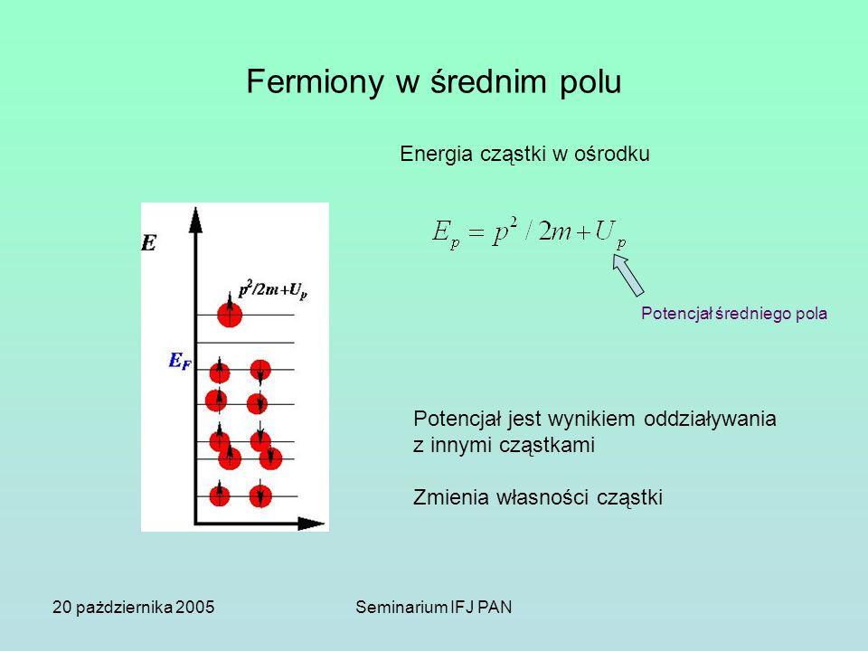 20 pażdziernika 2005Seminarium IFJ PAN Fermiony w średnim polu Energia cząstki w ośrodku Potencjał średniego pola Potencjał jest wynikiem oddziaływani