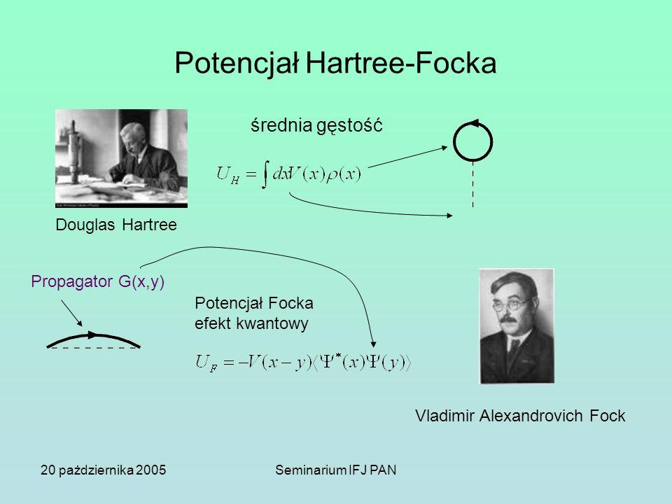 20 pażdziernika 2005Seminarium IFJ PAN Potencjał Hartree-Focka średnia gęstość Douglas Hartree Potencjał Focka efekt kwantowy Vladimir Alexandrovich F