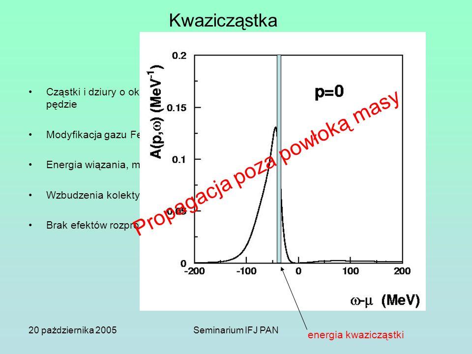 20 pażdziernika 2005Seminarium IFJ PAN Kwazicząstka Cząstki i dziury o określonej energii i pędzie Modyfikacja gazu Fermiego Energia wiązania, masa ef