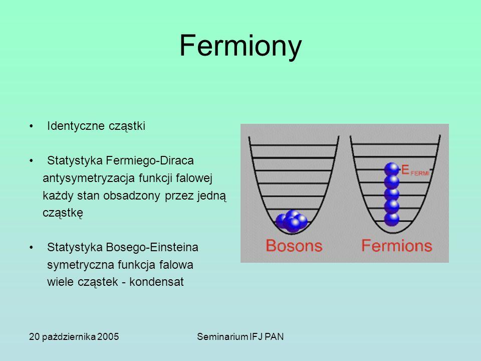 20 pażdziernika 2005Seminarium IFJ PAN Fermiony Identyczne cząstki Statystyka Fermiego-Diraca antysymetryzacja funkcji falowej każdy stan obsadzony pr
