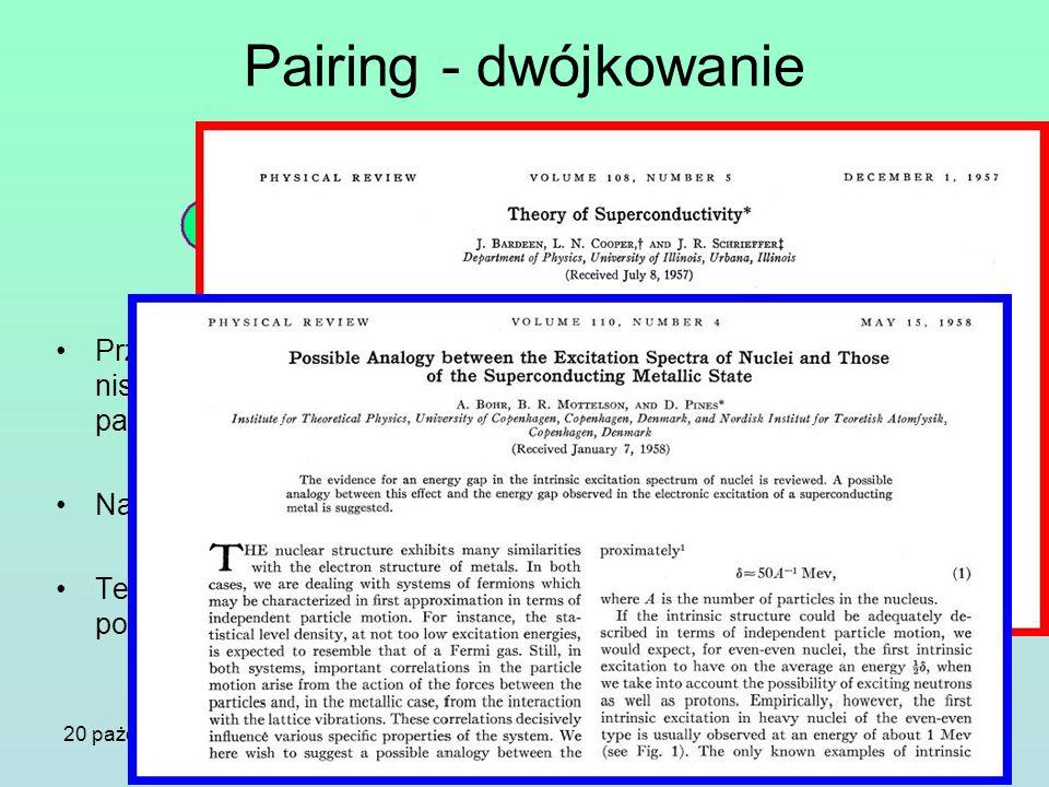 20 pażdziernika 2005Seminarium IFJ PAN Pairing - dwójkowanie Przyciągające się Fermiony w niskich temperaturach tworzą pary Coopera Nadprzewodnictwo T