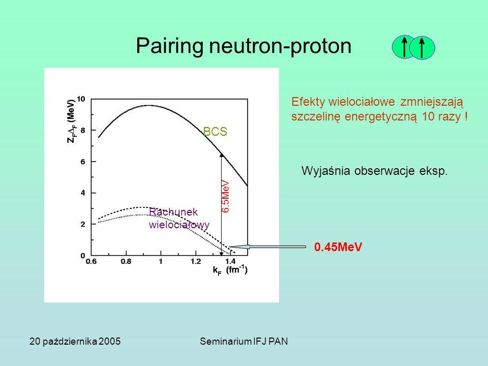 20 pażdziernika 2005Seminarium IFJ PAN Pairing neutron-proton BCS 6.5MeV 0.45MeV Rachunek wielociałowy Efekty wielociałowe zmniejszają szczelinę energ