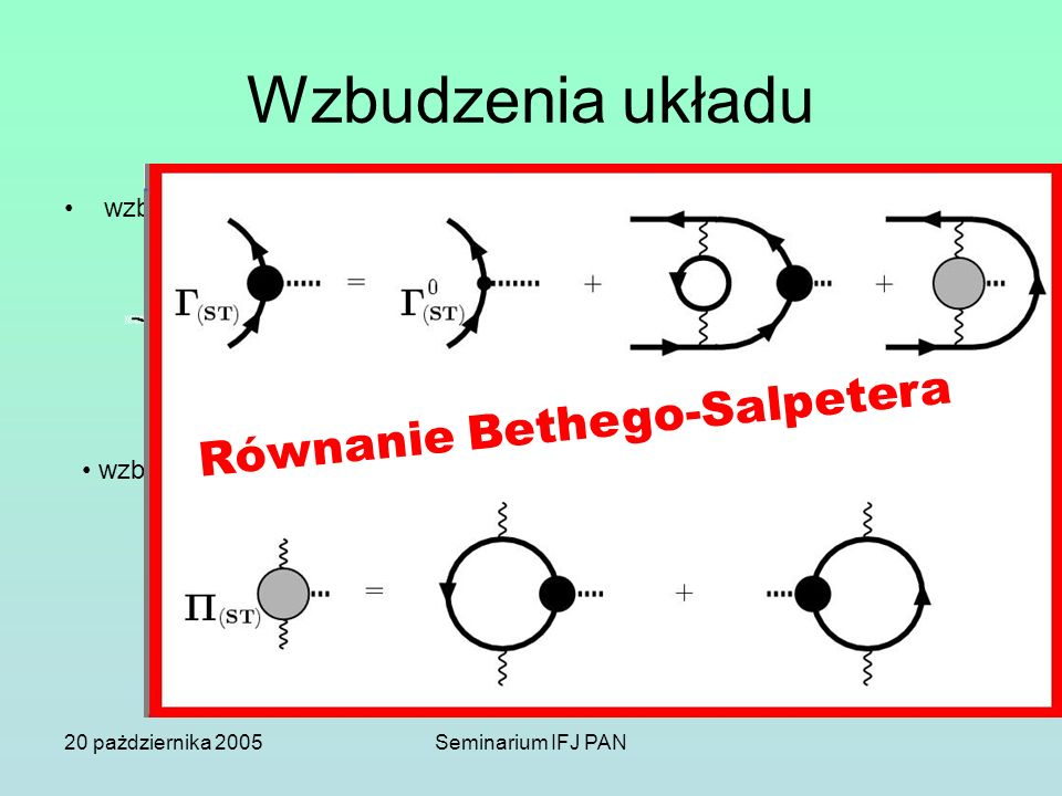 20 pażdziernika 2005Seminarium IFJ PAN Wzbudzenia układu wzbudzenia pary ph wzbudzenia wielu par ph Równanie Bethego-Salpetera