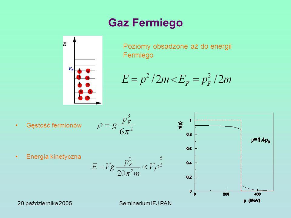 20 pażdziernika 2005Seminarium IFJ PAN Gaz Fermiego Gęstość fermionów Energia kinetyczna Poziomy obsadzone aż do energii Fermiego