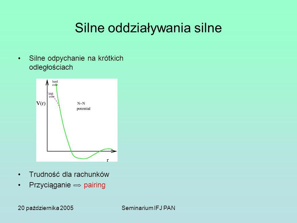 20 pażdziernika 2005Seminarium IFJ PAN Silne oddziaływania silne Silne odpychanie na krótkich odległościach Trudność dla rachunków Przyciąganie pairing Równanie stanu