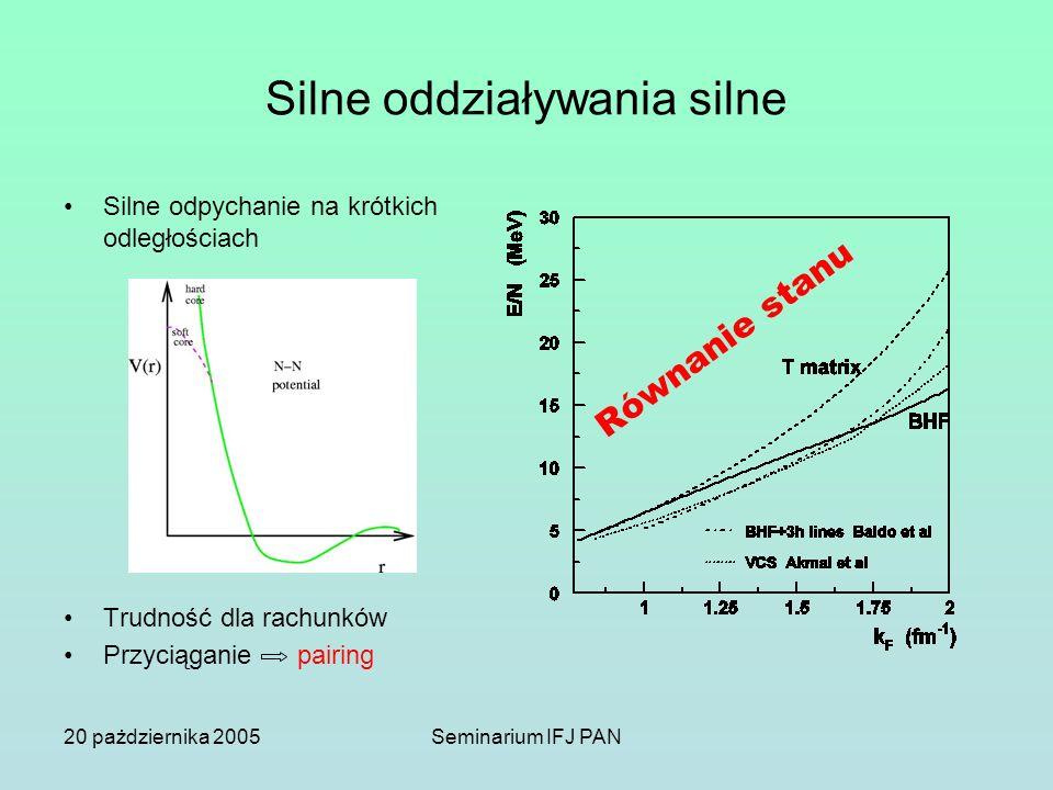 20 pażdziernika 2005Seminarium IFJ PAN Silne oddziaływania silne Silne odpychanie na krótkich odległościach Trudność dla rachunków Przyciąganie pairin